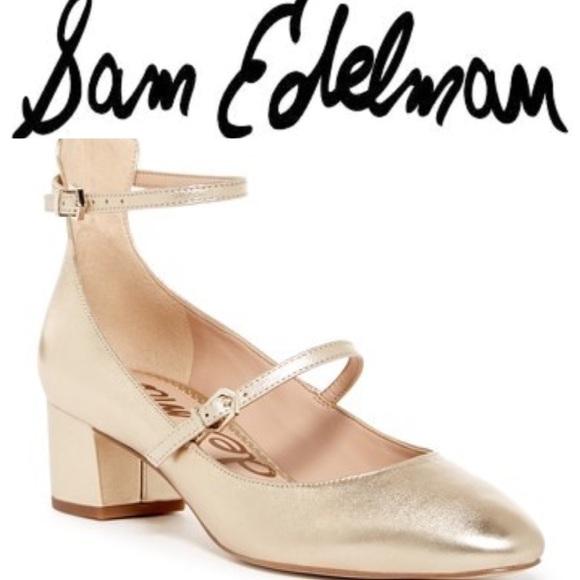 6792be3b5 Sam Edelman Lulie Metallic Leather AnkleStrap Pump